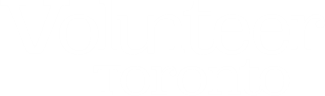 White mono colour logo of Volunteer Toronto with the word Volunteer placed above the word Toronto.